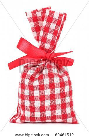 Gift lavender sack plaid cloth bag with red bow