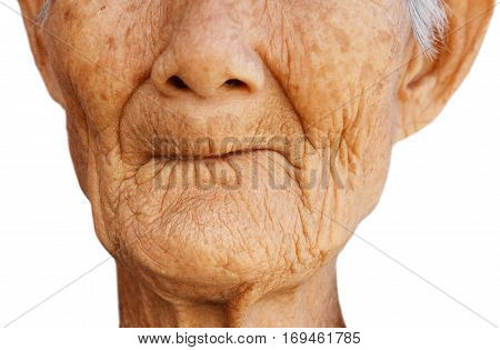 Closeup of female elderly with toothless mouth