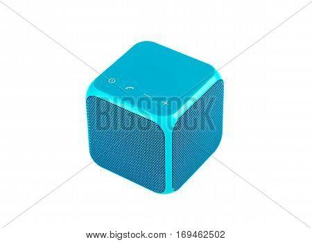 Blue speaker cube isolated on white background