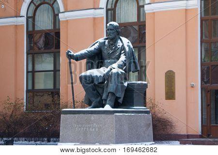 Monument to Ivan Sergeyevich Turgenev. Saint Petersburg.