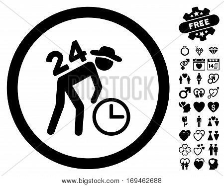 Around The Clock Work pictograph with bonus valentine images. Vector illustration style is flat rounded iconic black symbols on white background.