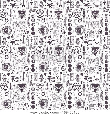 Vector esoteric astrology symbols seamless pattern background