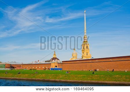 The Peter and Paul Fortress is the original citadel of St. Petersburg, Russia, founded by Peter the Great in 1703 and built to Domenico Trezzini's designs from 1706-1740.