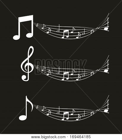 pentagram and musical notes over black background. vector illustration