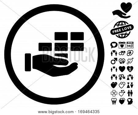 Service Schedule icon with bonus passion symbols. Vector illustration style is flat rounded iconic black symbols on white background.