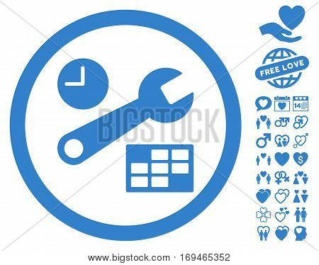 Date And Time Setup pictograph with bonus romantic clip art. Vector illustration style is flat rounded iconic cobalt symbols on white background.