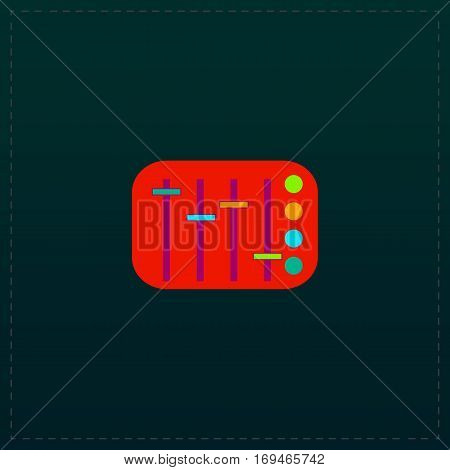 Sound Mixer Console. Color symbol icon on black background. Vector illustration