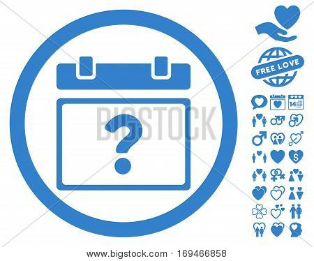 Unknown Date pictograph with bonus love images. Vector illustration style is flat rounded iconic cobalt symbols on white background.