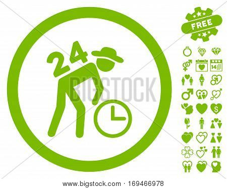 Around The Clock Work icon with bonus decorative graphic icons. Vector illustration style is flat rounded iconic eco green symbols on white background.