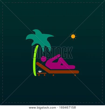 Man relaxing on a deck chair under palm tree and standing table with a cup of coffee. Color symbol icon on black background. Vector illustration