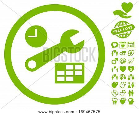 Date And Time Setup icon with bonus love icon set. Vector illustration style is flat rounded iconic eco green symbols on white background.
