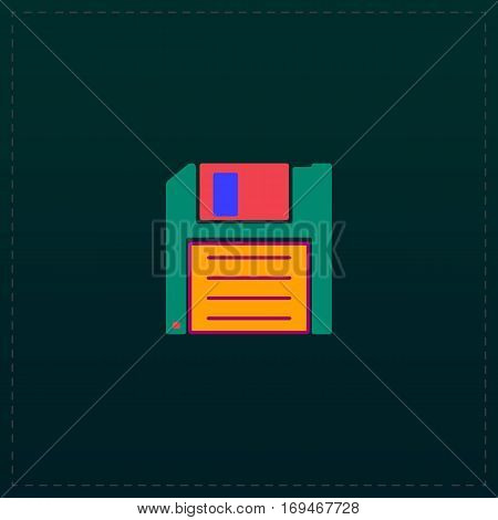 Diskette Save. Color symbol icon on black background. Vector illustration