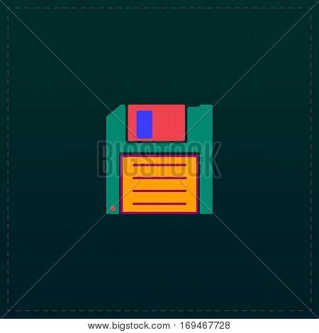 Diskette Save. Color symbol icon on black background. Vector illustration