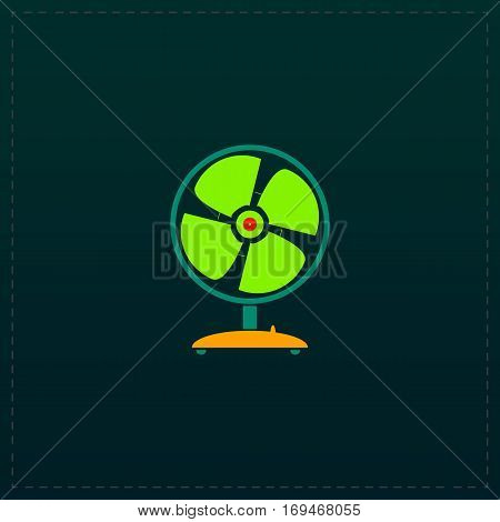 Table fan. Color symbol icon on black background. Vector illustration