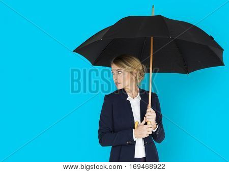 Business Woman Looking Back Umbrella Concept