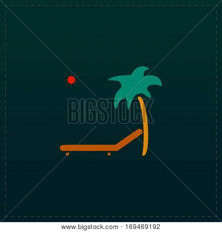 Tropical resort beach. Sunbed Chair. Color symbol icon on black background. Vector illustration