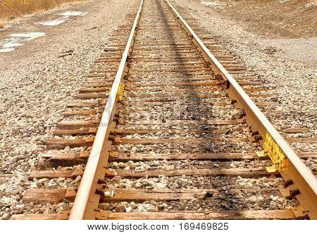 sharp capture of a set of railroad tracks.