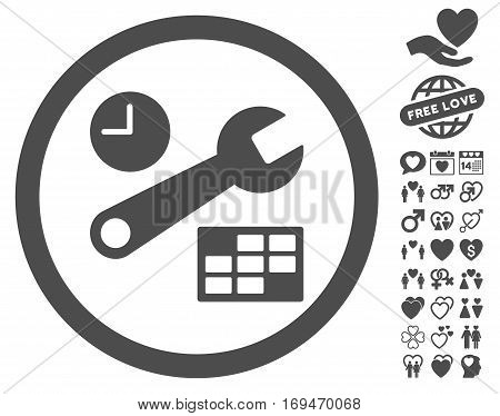 Date And Time Setup icon with bonus romantic symbols. Vector illustration style is flat rounded iconic gray symbols on white background.