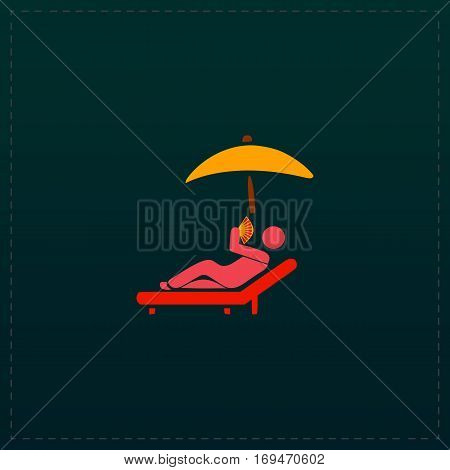 Relax under an umbrella on a lounger. Color symbol icon on black background. Vector illustration
