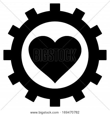 Love Heart Options Gear flat icon. Vector black symbol. Pictograph is isolated on a white background. Trendy flat style illustration for web site design, logo, ads, apps, user interface.