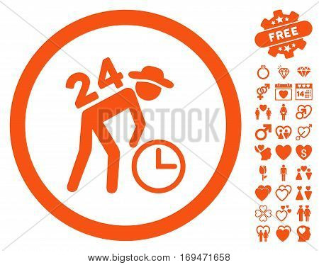Around The Clock Work pictograph with bonus lovely pictograph collection. Vector illustration style is flat rounded iconic orange symbols on white background.