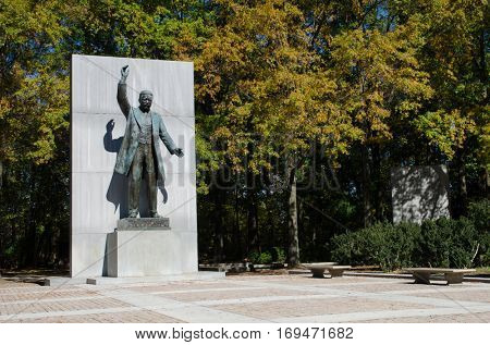 WASHINGTON, DC - OCTOBER 20, 2012: The statue of Theodore Roosevelt, is a bronze sculpture honoring the 26th president of the US, and is located on Thedore Roosevelt Island in the Washington DC.