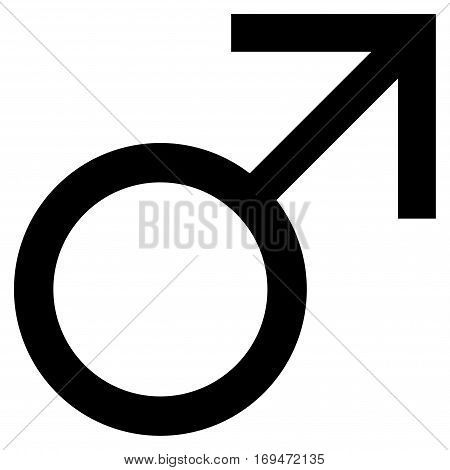 Mars Male Symbol flat icon. Vector black symbol. Pictograph is isolated on a white background. Trendy flat style illustration for web site design, logo, ads, apps, user interface.