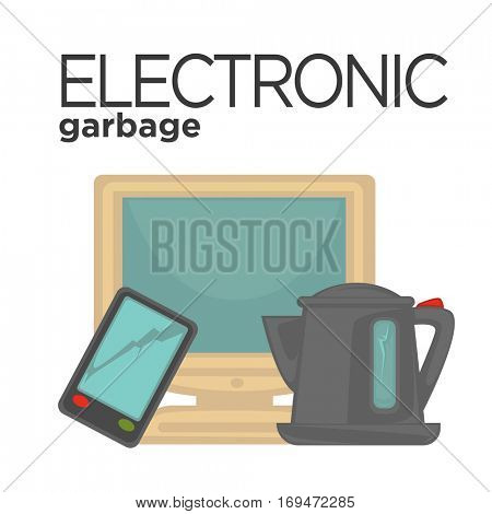 Vector symbol of electronic garbage or recycle sign. Trash icon: monitor, mobile and kettle. Illustration of e-waste categories, garbage recycling. Cartoon design element for pollution and ecology.