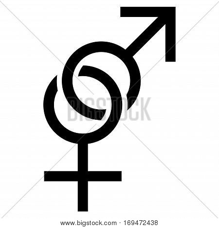 Sex Symbol flat icon. Vector black symbol. Pictogram is isolated on a white background. Trendy flat style illustration for web site design, logo, ads, apps, user interface.