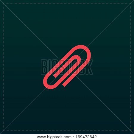 Paper clip. Color symbol icon on black background. Vector illustration