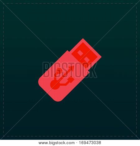 Usb flash drive. Color symbol icon on black background. Vector illustration