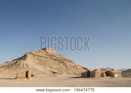 Towers of Silence in Yazd Iran. These towers were used in the Zoroastrian religion to dispose of the bodies of their deceased ones.