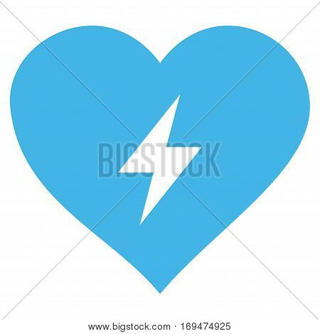 Heart Power flat icon. Vector blue symbol. Pictogram is isolated on a white background. Trendy flat style illustration for web site design, logo, ads, apps, user interface.