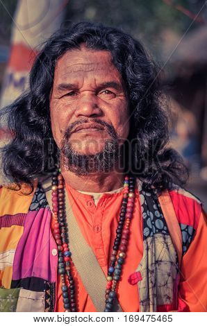 Man In Colourful Clothes In West Bengal