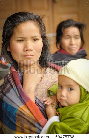 Woman With Baby In Arunachal Pradesh