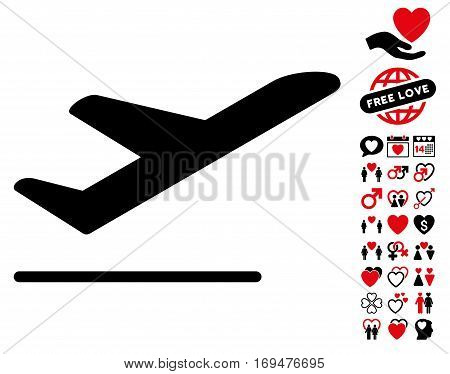 Airplane Departure pictograph with bonus lovely graphic icons. Vector illustration style is flat iconic intensive red and black symbols on white background.