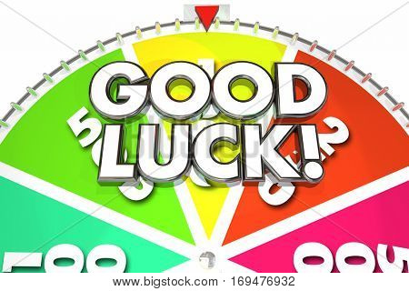 Good Luck Spin Wheel Win Game Jackpot 3d Illustration