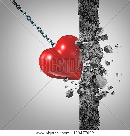 Love power and relationship passion pain or the concept of painful sexual experience as a sadist or masochist symbol as a heart wrecking ball demolishing a wall with 3D illustration elements.