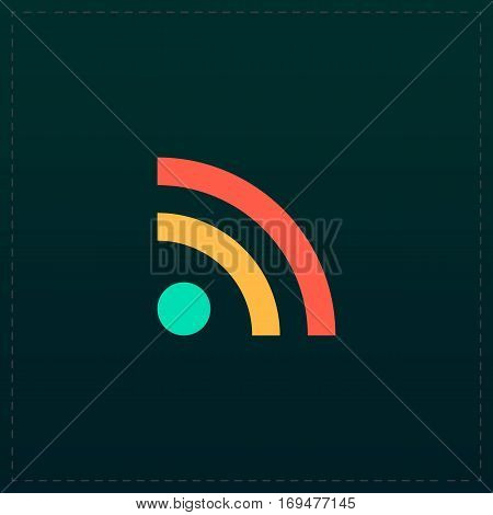RSS. Color symbol icon on black background. Vector illustration