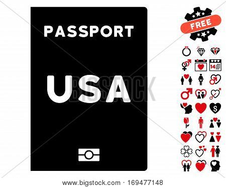 American Passport icon with bonus lovely icon set. Vector illustration style is flat iconic intensive red and black symbols on white background.