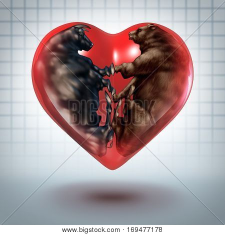 Investment love and loving investing concept as a bear and bull curled in the shape of a heart with 3D illustration elements.