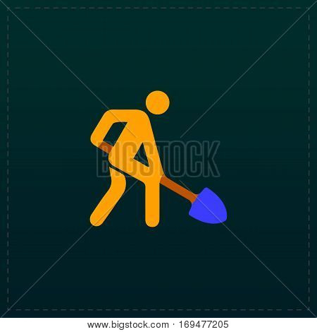 Building site. Color symbol icon on black background. Vector illustration