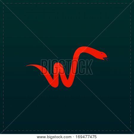 Snake. Color symbol icon on black background. Vector illustration