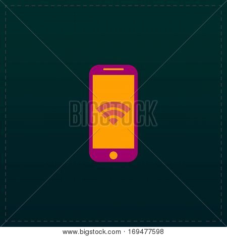 Wi fi on your smartphone. Color symbol icon on black background. Vector illustration