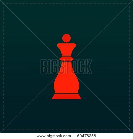 Chess queen. Color symbol icon on black background. Vector illustration
