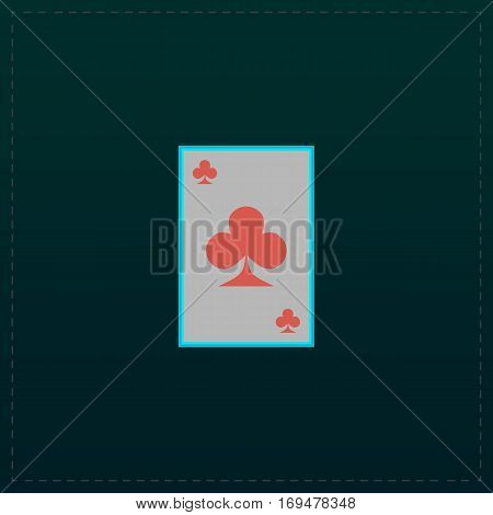 Clubs card. Color symbol icon on black background. Vector illustration