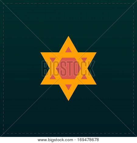 Star of David. Color symbol icon on black background. Vector illustration