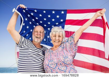 Senior couple holding american flag on a sunny day