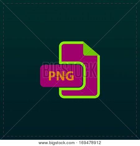 PNG image file extension. Color symbol icon on black background. Vector illustration