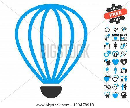 Aerostat icon with bonus lovely graphic icons. Vector illustration style is flat iconic blue and gray symbols on white background.